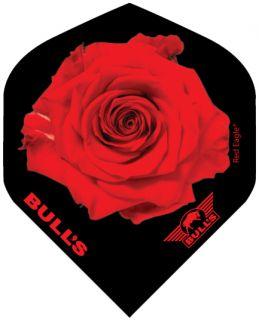 Bull's Powerflight Std. Red Rose Black   Darts Warehouse