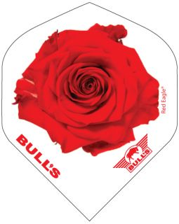 Bull's Powerflight Std. Red Rose White   Darts Warehouse