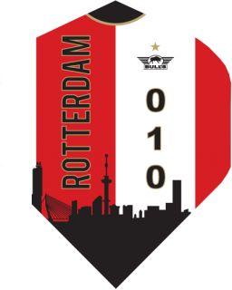 Bull's Powerflight Std. Rotterdam Skyline Red   Darts Warehouse