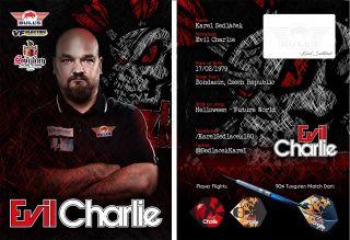 Karel Sedlacek Evil Charlie Signcard   Darts Warehouse