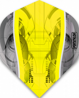 Pentathlon Silver Edge Yellow | McKicks Flights | Darts Warehouse